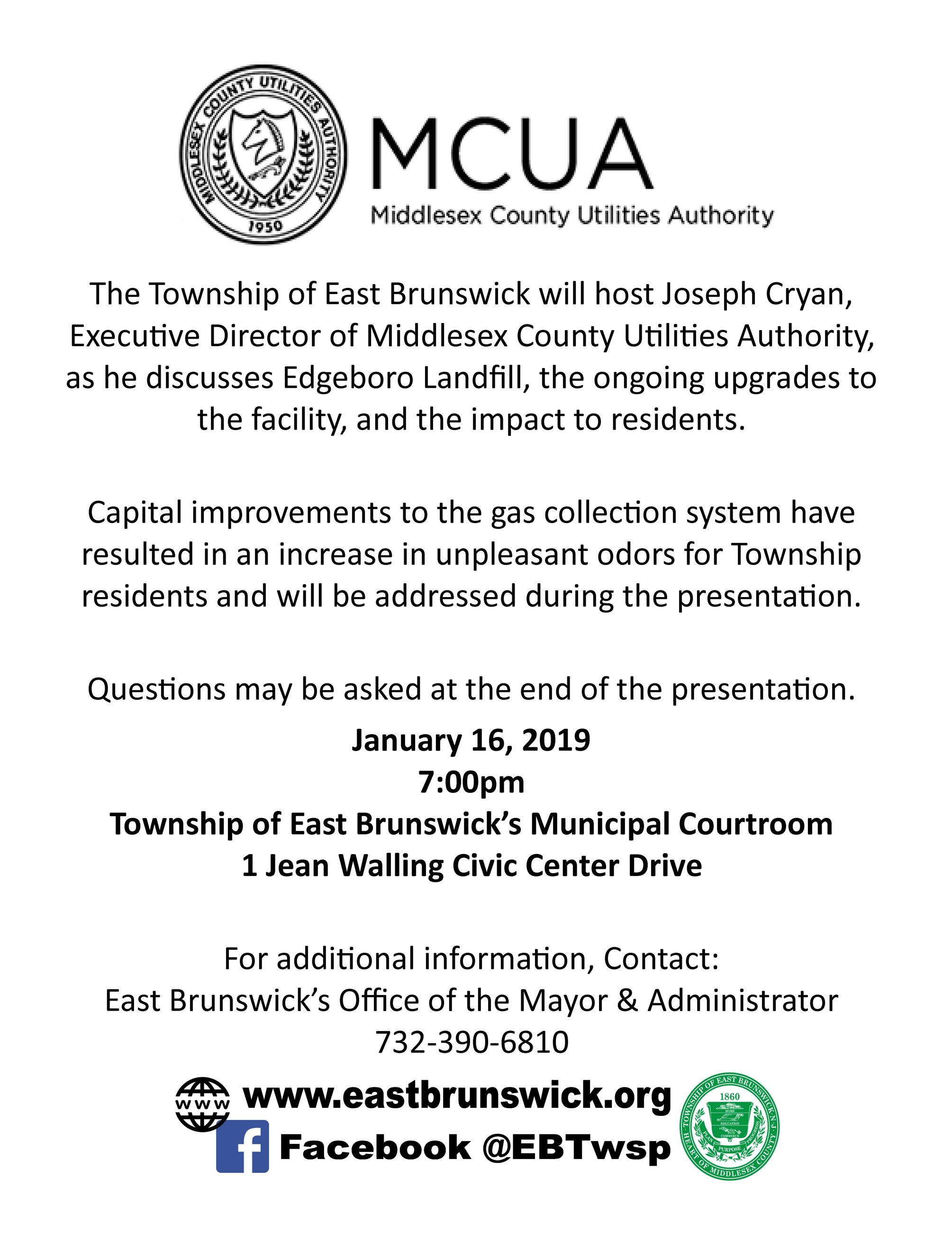 MCUA Meeting regarding Edgeboro Landfill