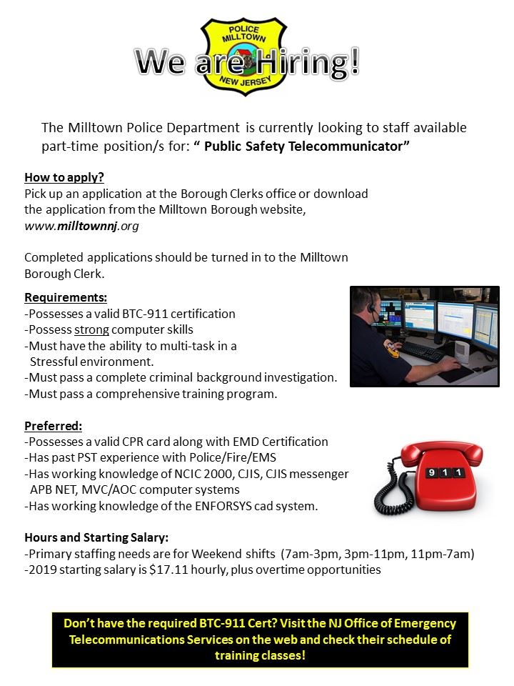Milltown PD hiring poster for PST